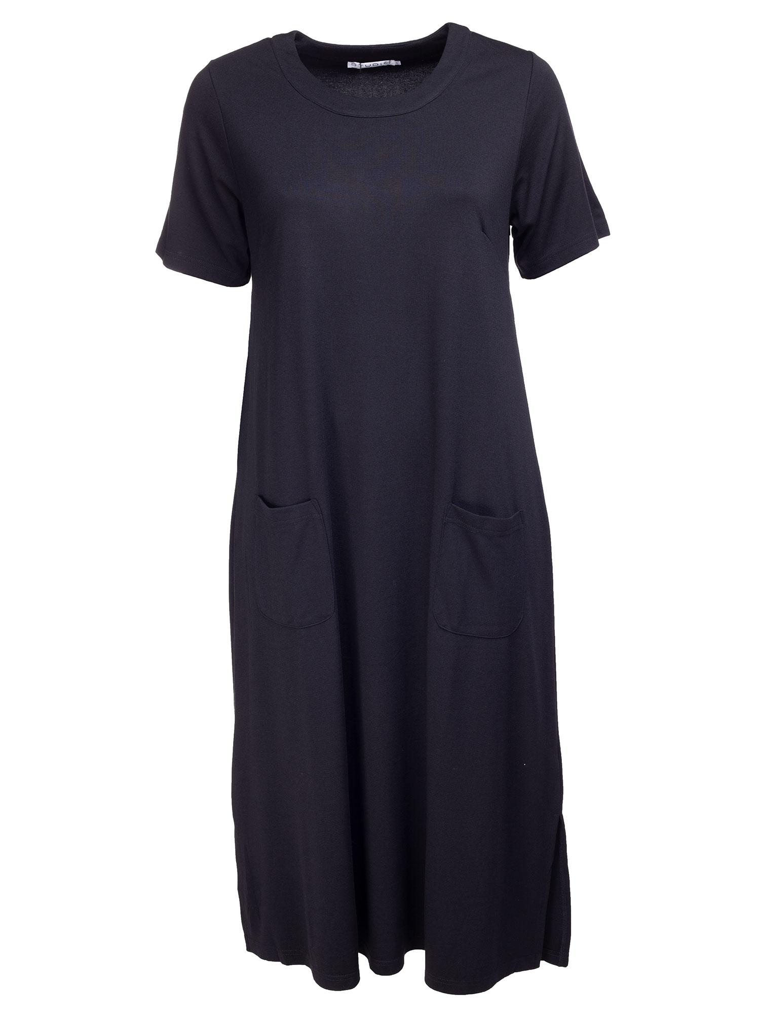 Studio Sort lang kjole med lommer, 42-44 / S