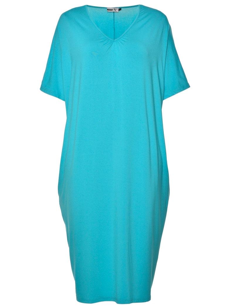 Studio Lang turkis kjole med v-hals og lommer, 42-44 / S