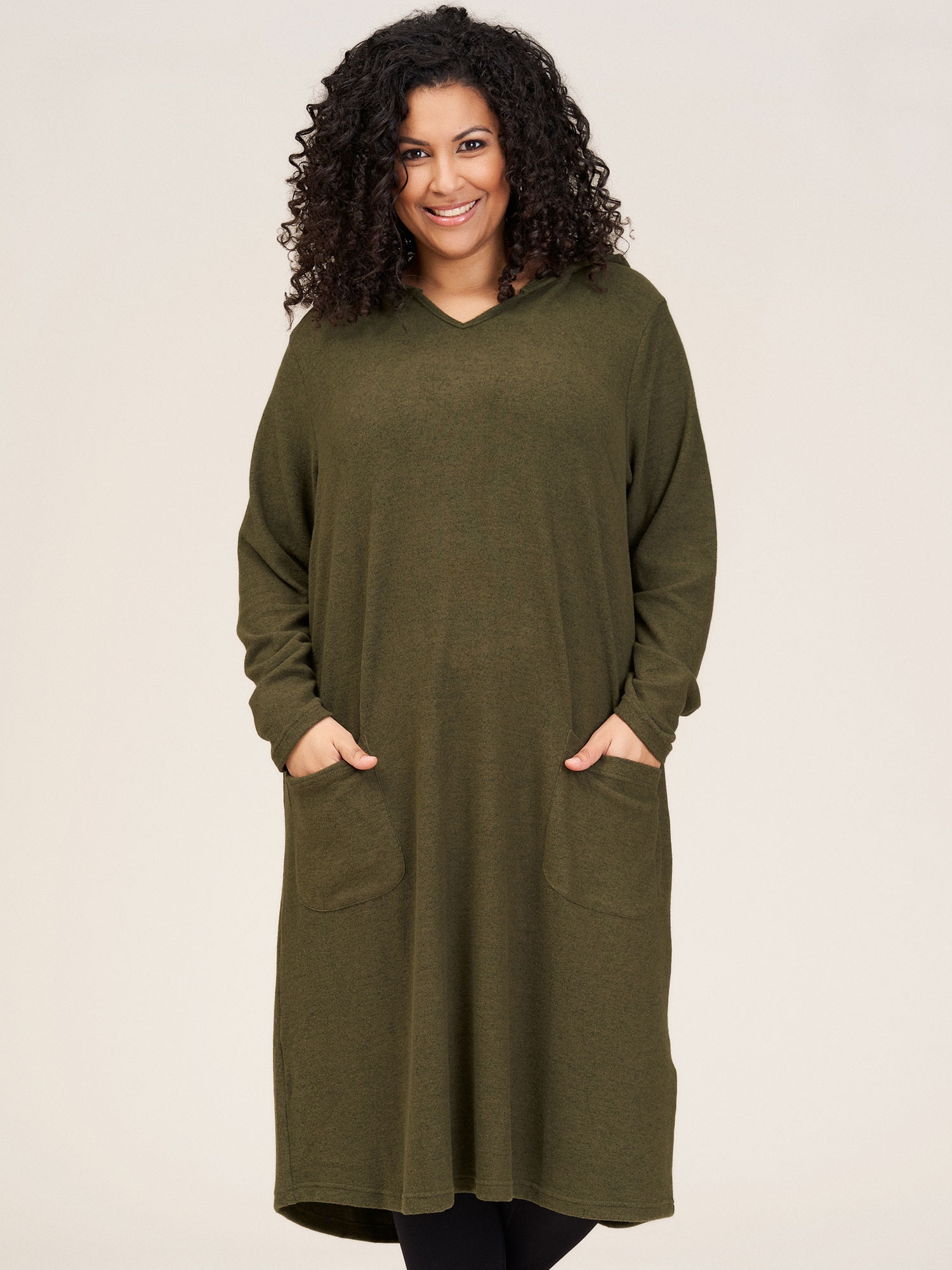 Studio Lang grøn strik kjole med hætte og lommer, 42-44 / S