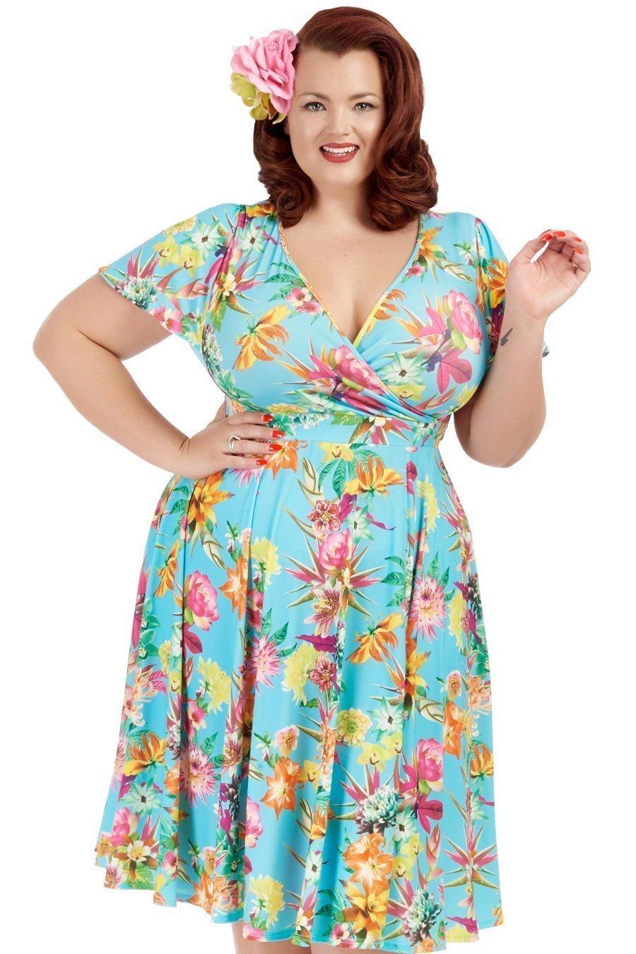 Smuk turkis 50er kjole med flotte blomster i klare farver og...