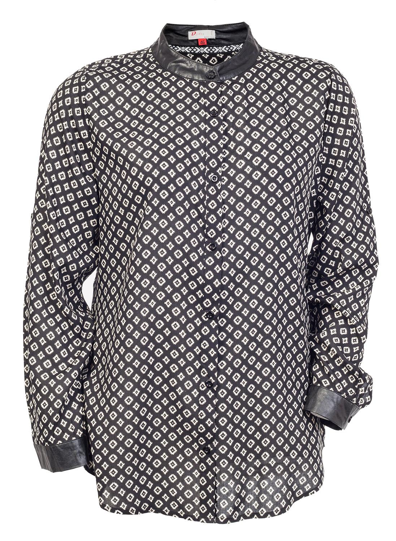 Let sort viskose skjorte med lyst mønster