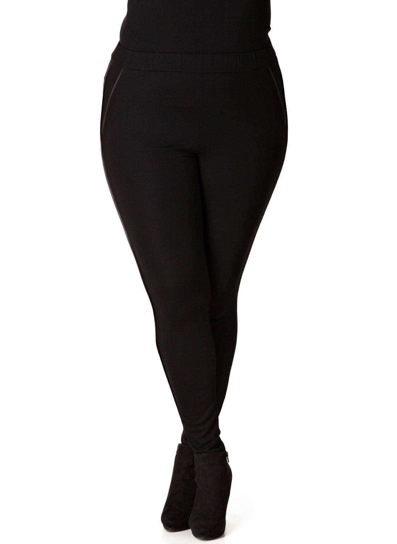 Sorte leggings med skind effekt