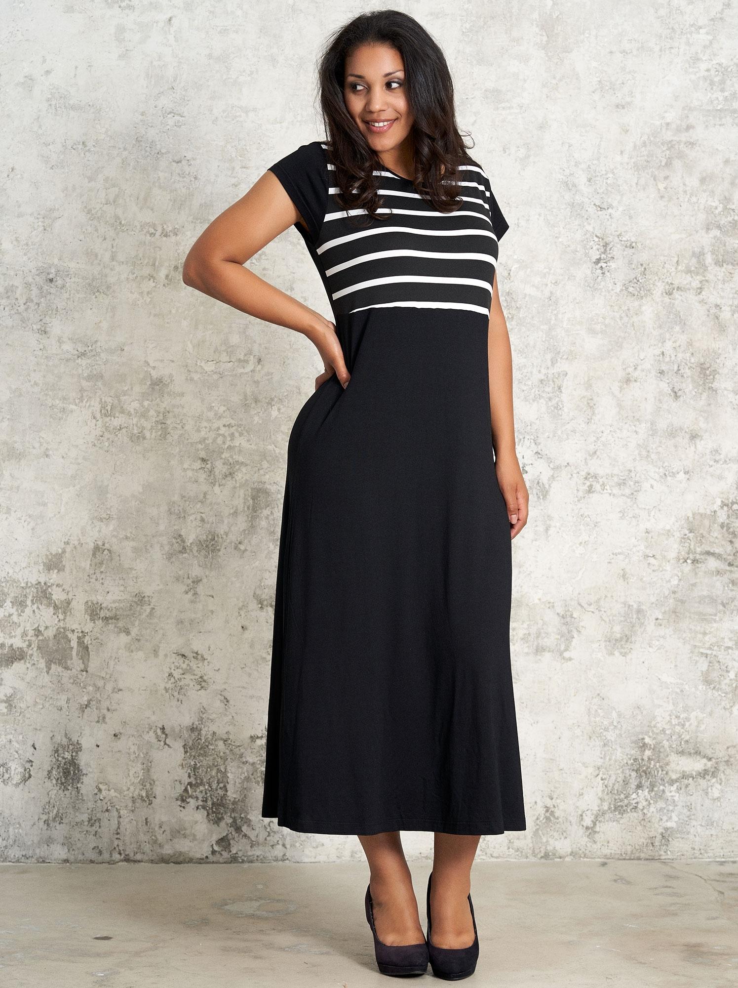 Studio Sort lang kjole med striber på overdelen, 46-48 / M