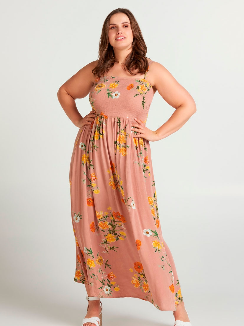 Zizzi Lang kjole med blomsterprint, 46-48 / M