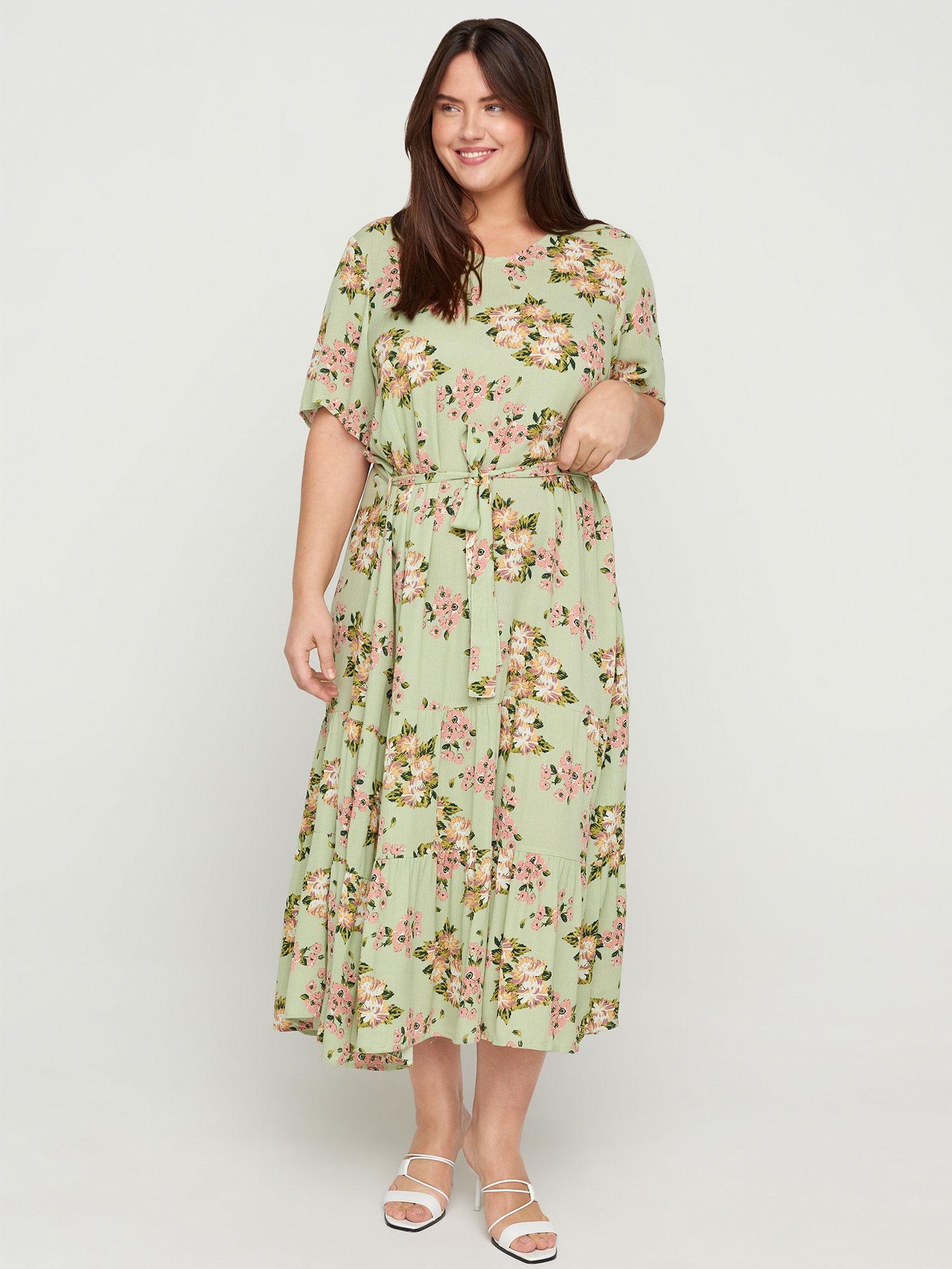 Lang grøn kjole i viskose med blomsterprint