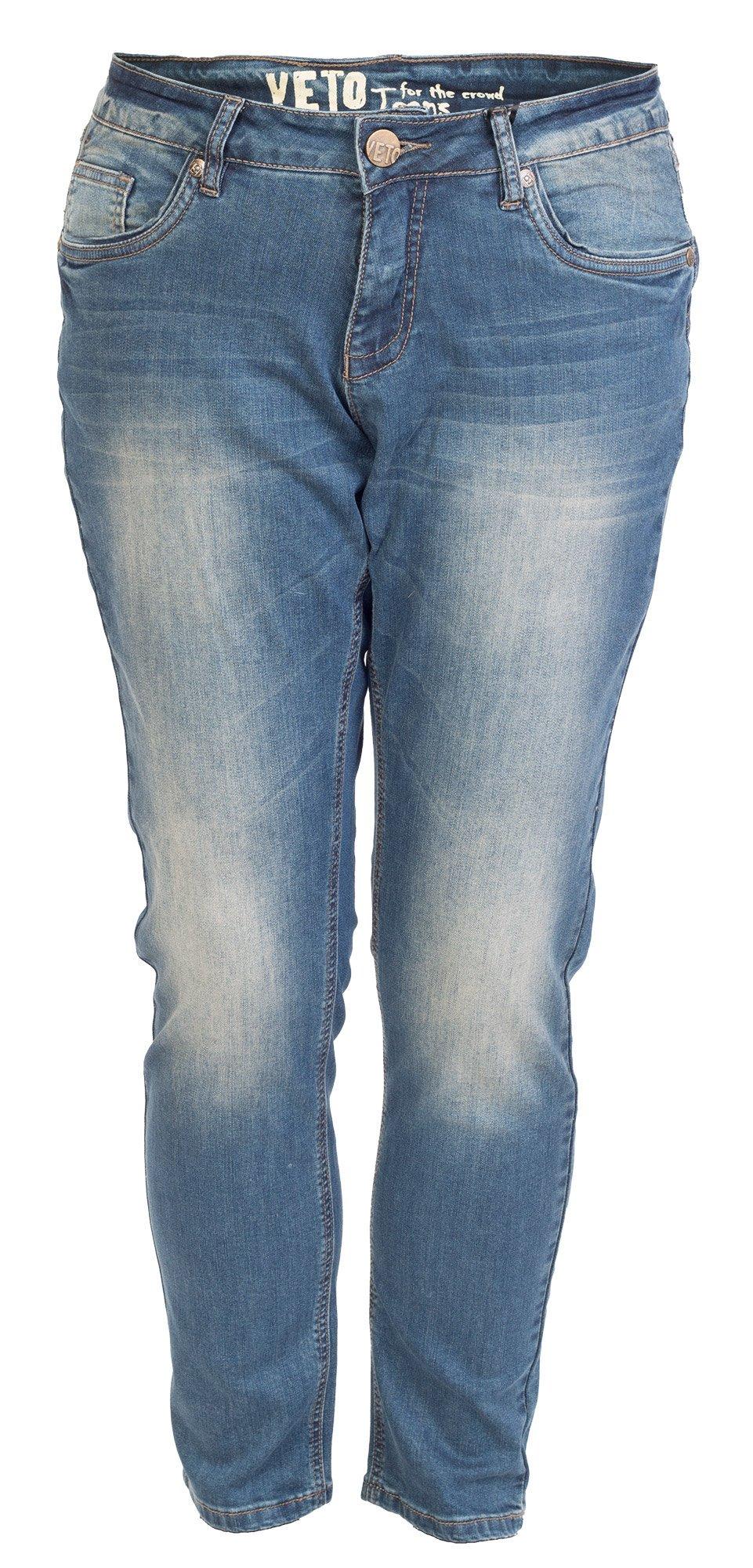 Blå jeans med slid effekt