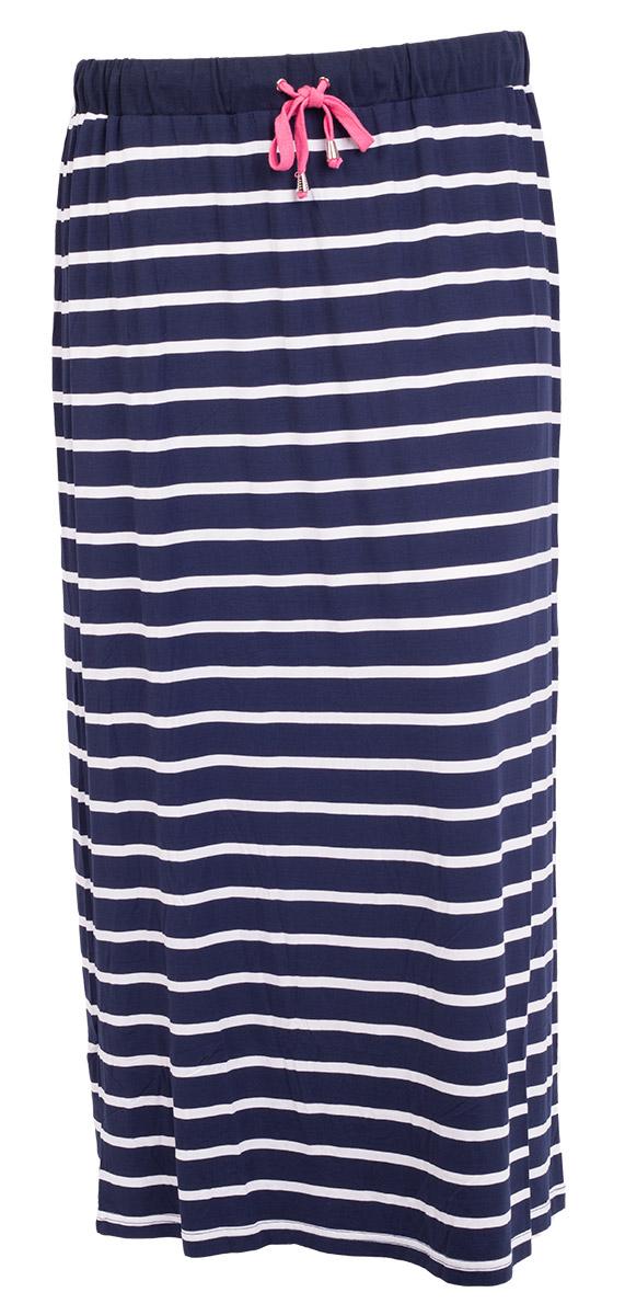 Lang marineblå nederdel med smalle hvide striber