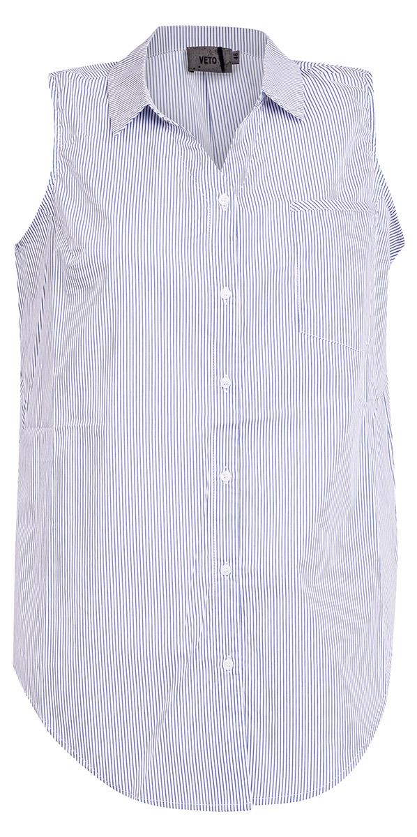 Skjorte uden ærmer i blå og hvid