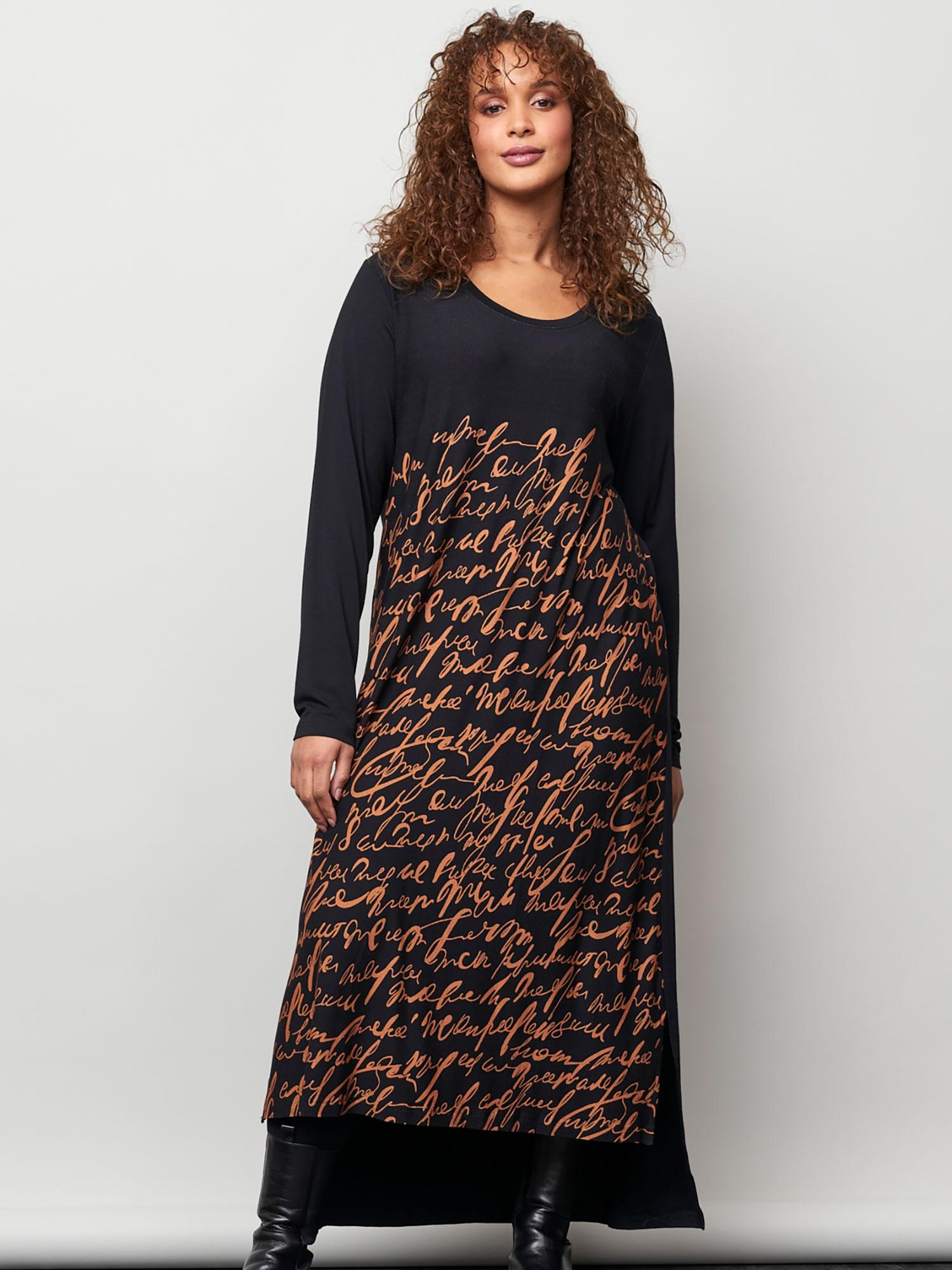 Aprico Lang sort jersey kjole med cool skrift print, 46-48 / M