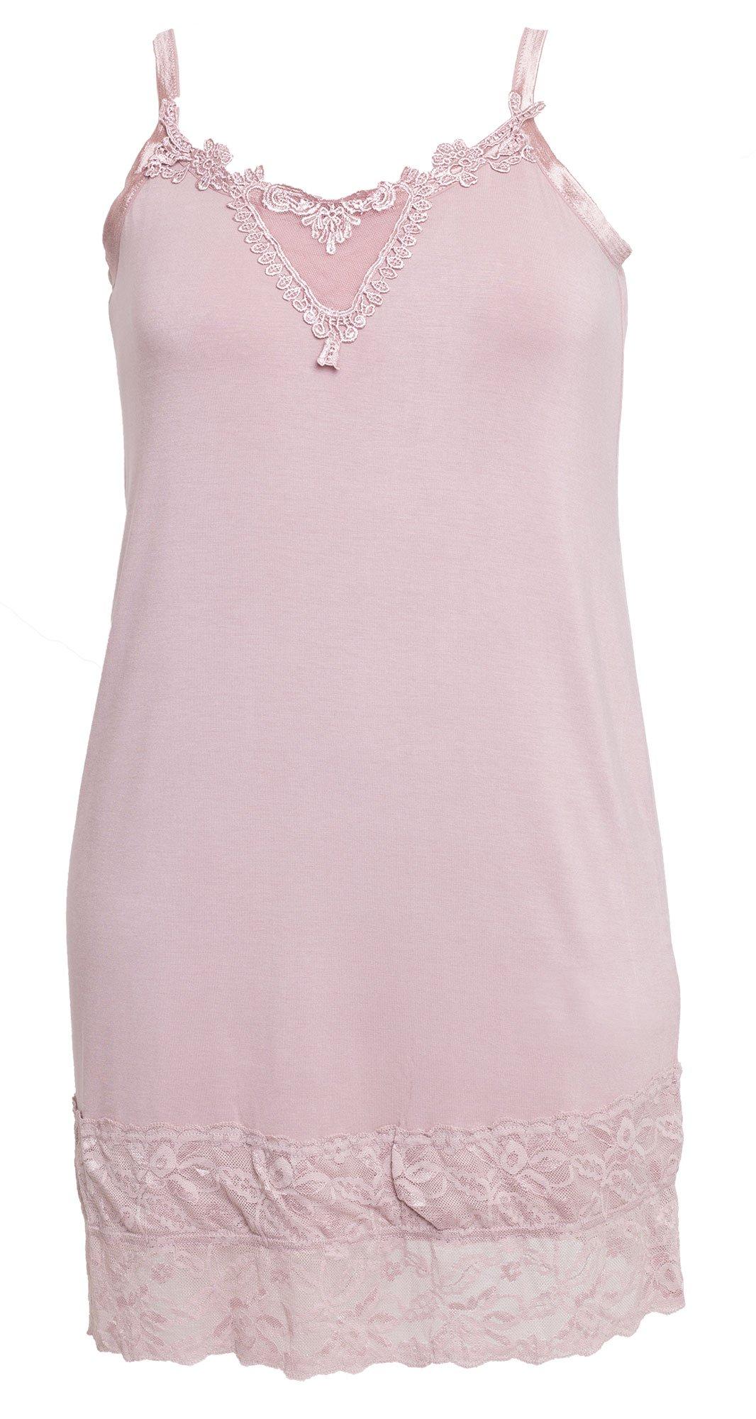 Sød rosa farvet lang blonde top / underkjole