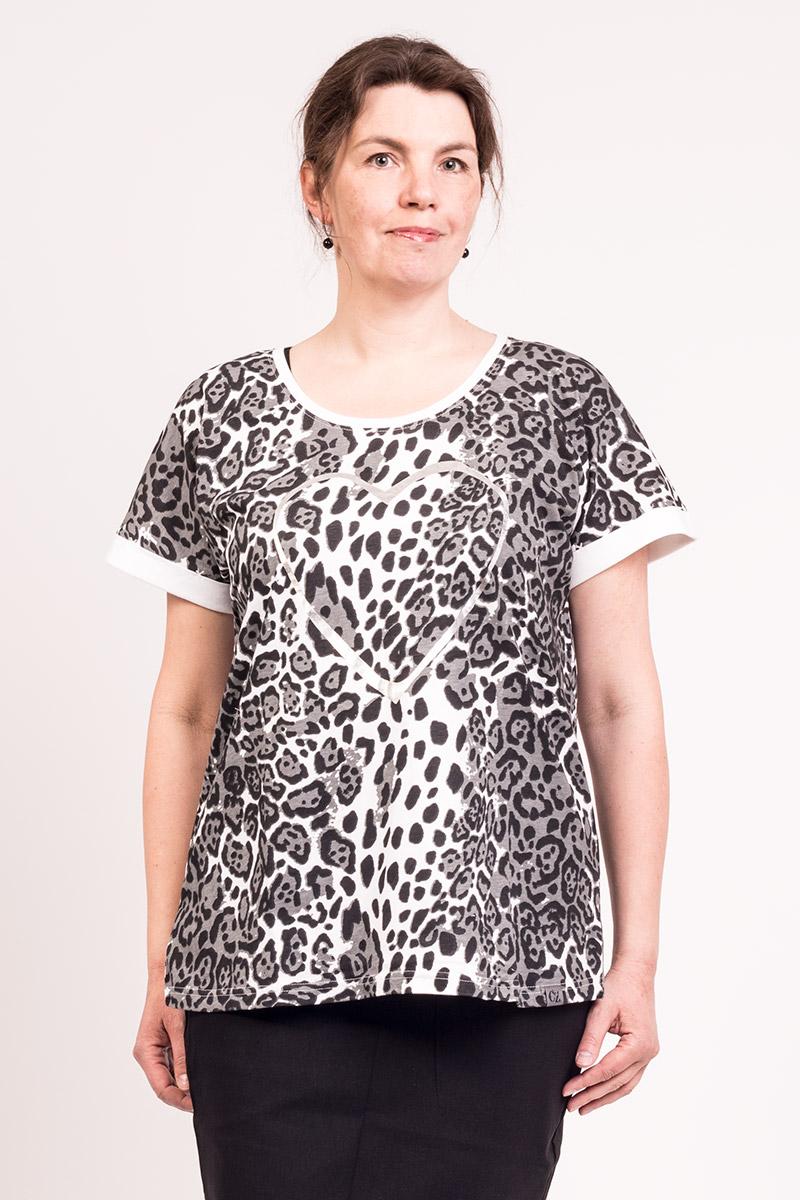 T-shirt med dyreprint og hjerte