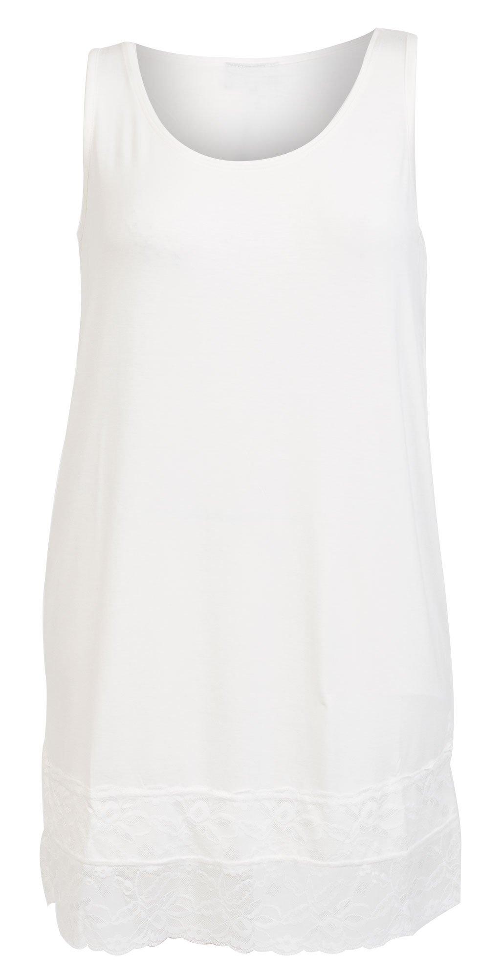 Lang lys top / underkjole med bred blonde kant