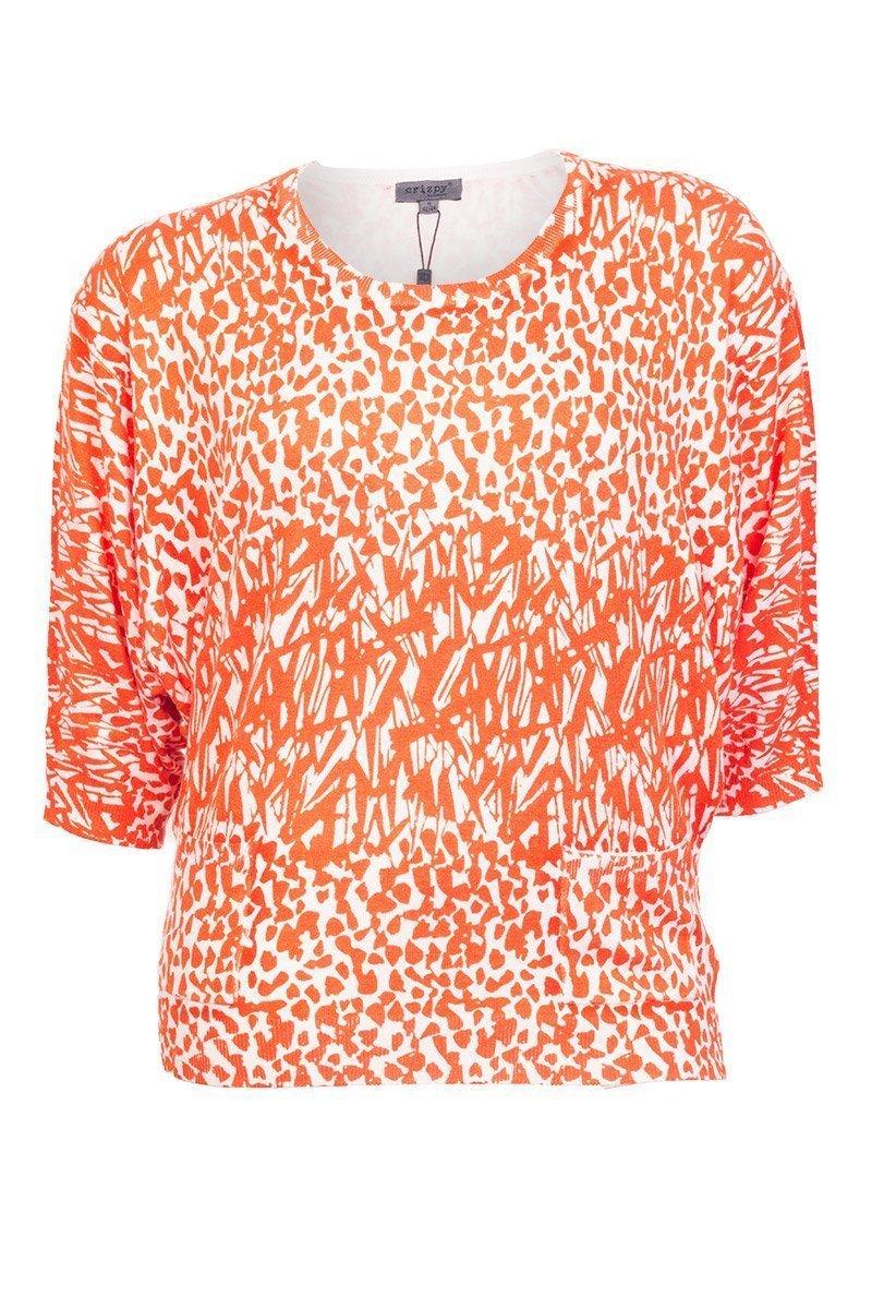 Flot bluse med orange mønster