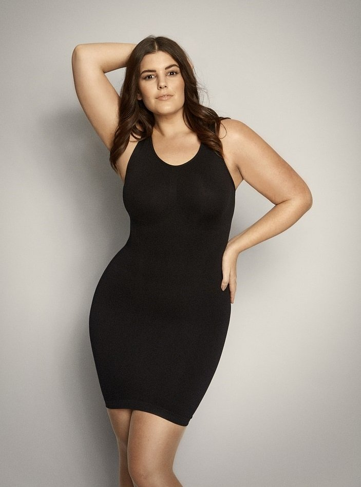 Sort shapewear kjole / lang top